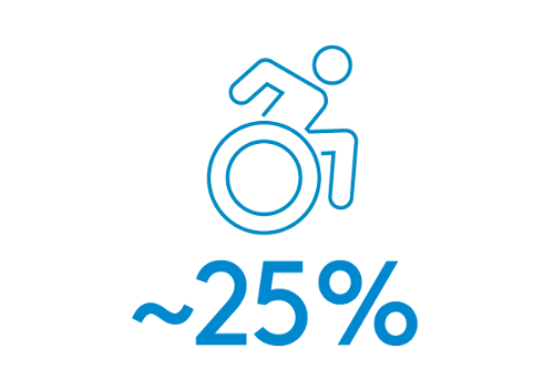 Outline of a wheelchair of the statistic ~25%
