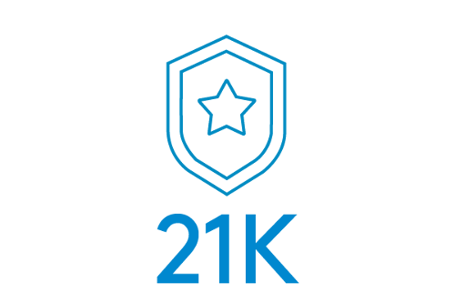 Outline of a badge over the statistic 21K