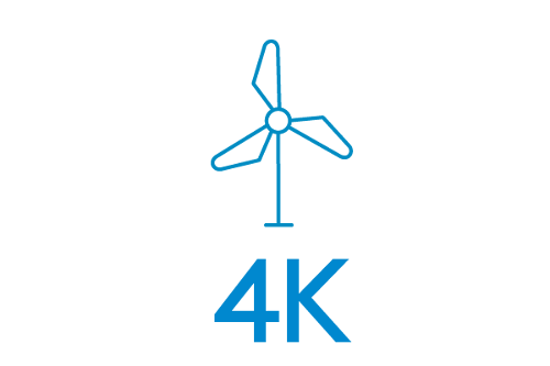 A symbol of a windmill with the number four thousand under it